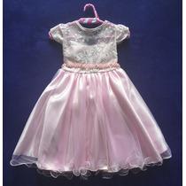 Vestido Infantil Festa Princesa Rosa Luxo Menina