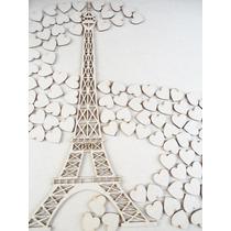 Torre Eiffel Con 100 Corazones En Marco Para Firmas Boda Mdf