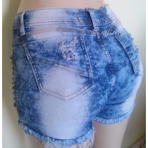 Shorts Jeans Feminino Manchado Hot Pants Empina Bumbum