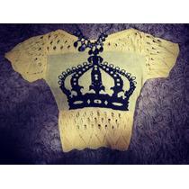 Croped Top Tricot Crochet Feito A Mão Manga Curta Delicado