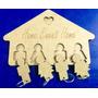 Porta Chaves Família Em Madeira Mdf Cru 3mm Com 04 Chaveiros