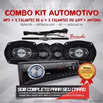 Kit Automotivo Multilaser Mp3 + Par Falantes 6
