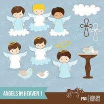 Kit Imprimible Angelitos Bautismo Nene 3 Imagenes Clipart