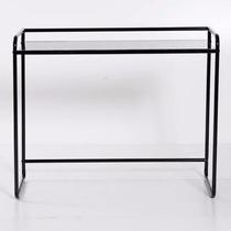 Mesa De Pc Vidrio-metal Color Negro Diseño Minimalista