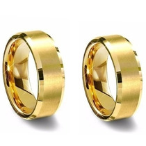 Par De Alianças De Tungstenio Dourada 8mm - Frete Gratis