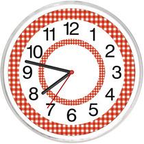 Relógio De Parede Modelo Papel Xadrez Vermelho Decorativo