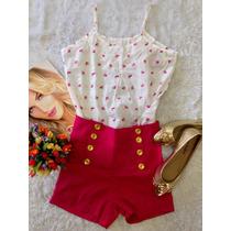 Blusa De Alcinha Estampada Gatinho Rosa Tam Unico