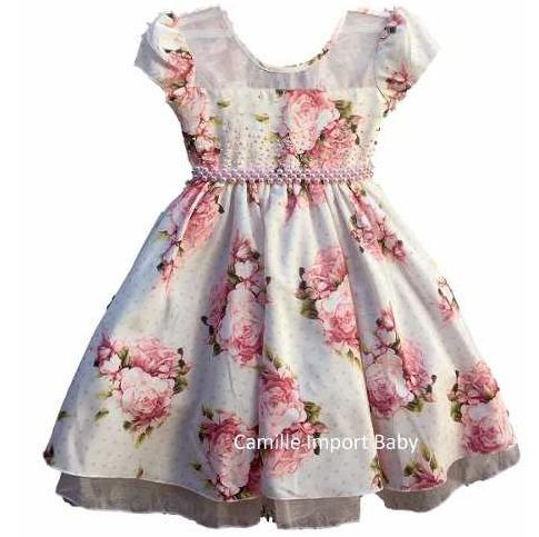 b4dd350c8ba Vestido Infantil Festa Luxo Floral Princesa Marsha Com Tiara - R ...