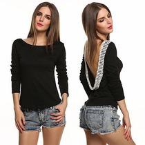 Nueva Moda Femininas Ropa Casual Blusas Sin Espalda