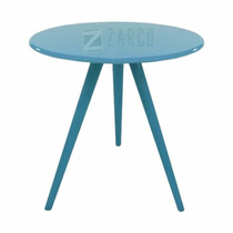 Mesa Decorativa De Canto Centro Laqueada Mdf Pé Palito Azul