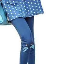 Leggings Mallones Moda Asiática Japonesa Cara Gato Bordado