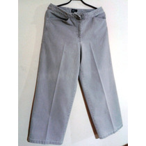 Pantalón Jean Gris Corte Recto Ny Jeans/talla L /no Stretch