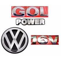 Kit Emblemas Gol Power 16v + Vw Mala - Geração 3 Gol Power