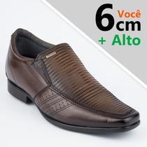 Sapato Social Masculino Pegada Aumenta Altura Couro Nf Tc