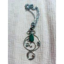 Collar Mujer Piedra Malaquita Verde Artesanal + Cadena
