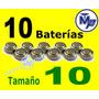 10 Baterias Aparato Auditivo Varios Tamaños 10