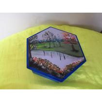 Hermosa Cajita Hexagonal Pintada A Mano