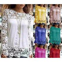 Camisa Blusa Feminina Lace Chiffon Renda Importada Pronta En