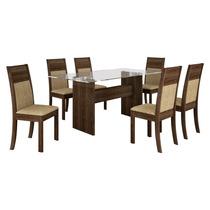 Conjunto De Mesa Ravena Plus 1.60m Com 6 Cadeiras Ravena Plu