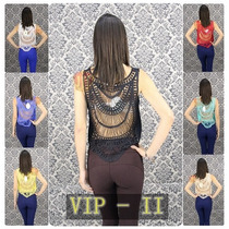 Regata Guiper Feminina Top Cropped Renda Costas Blusa Top Ii