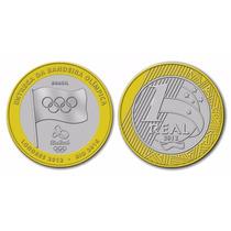 Moeda 1 Real Entrega Da Bandeira Olimpica