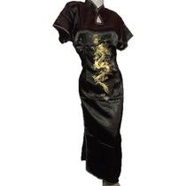 Kimono Largo Xl Xxl Xxxl Con Dragon Vestido Chino Fiesta