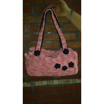 Cartera Al Crochet Forrado Artesanal Primaveral Nuevo