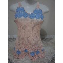 Blusa De Crochê Feita Em Motivos - Rosa E Azul