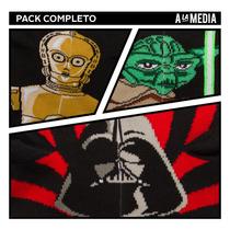 Medias Soquetes, Star Wars Darth Vader, C3po, Yoda. Pack X 3