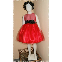 Vestido Navideño Gasa Cristal * Raso *tul * 3 A 4 Años