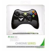 Controle Xbox 360 Sem Fio Chrome Series Especial Black