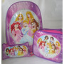 Bolso Escolar Princesas Disney (combo Bolso, Loncheras Y Car