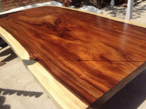 Cubierta para comedor de tronco madera parota once a tree for Mesas de troncos de madera