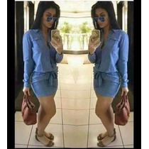 Vestido Jeans Curto Com Laço
