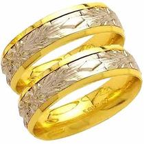 Par Aliança De Casamento Bodas De Prata Trabal Ouro 18k-al96