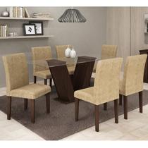 Conjunto Mesa De Jantar Com 6 Cadeiras Classic Cappuccino -