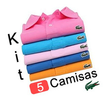 Kit 5 Camisas Polo Lacoste Camisetas Masculinas Atacado