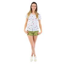 T-shirt Feminina Blusa Estampada Cinza Mescla Coleção 2016.