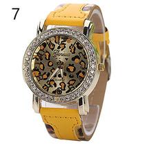 Reloj Pulsera Mujer Geneva Estilo Leopardo Aperlado Dorado