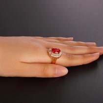 Anel Solitário Pedra Zirconia Vermelha Banhado Ouro 18
