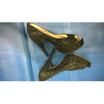 Zapatos De Fiesta N°39 Con Strass Plataforma 4cm.-taco 12cm.