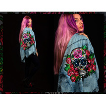 Camisa Jean Diseño Calavera Mexicana Pintada A Mano Skull