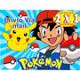 Kit Imprimible Pokemon Diseña Tarjetas Cumpleanos Invita 2x1