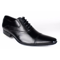 Sapato Oxford Preto Social Masculino Cadarço Sola Couro
