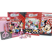 Kit Material Escolar Minnie 10 Itens - Borracha Caderno Cola