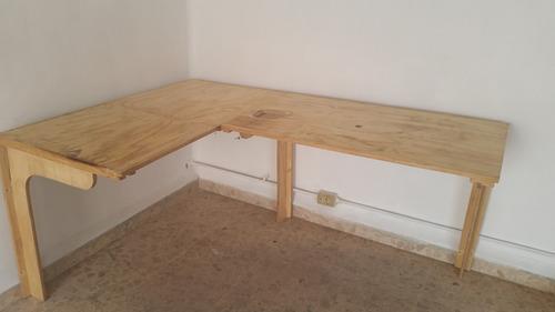 Mesa de trabajo y repisa reforzada de madera 3 - Como hacer una mesa plegable ...
