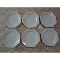Conjunto Pratos Rasos 6 Peças Porcelana Schmidt Bco Prisma