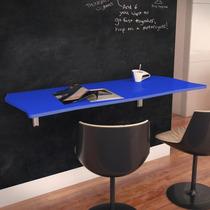 Mesa Dobrável Suspensa Para Cozinha Em Mdf 110 Cm Azul