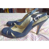 Sapato Arezzo Retrô Azul Nº 34