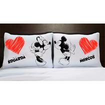 Capa Fronha De Travesseiro Mickey E Minnie C/ Nome Namorados